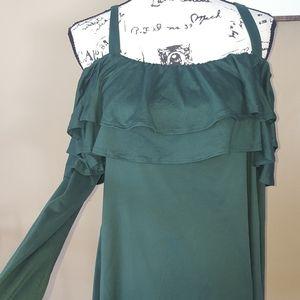 Pinkblush cold shoulder green shirt size L womens